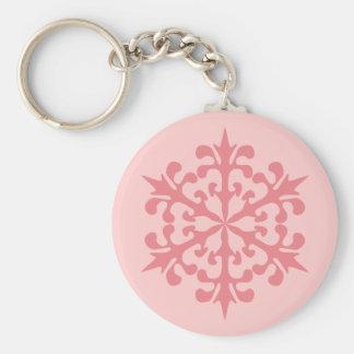 Pink Snowflake Basic Round Button Key Ring
