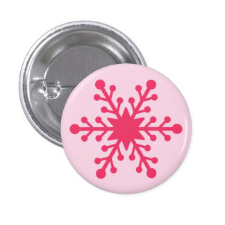 Pink Snowflake Mini Button