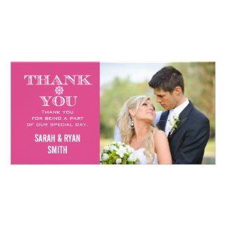 Pink Snowflake Wedding Photo Thank You Cards Custom Photo Card