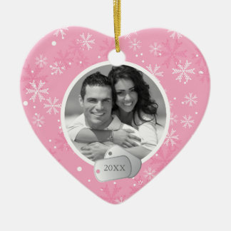 Pink Snowflakes and Dog Tags Photo Ceramic Heart Decoration