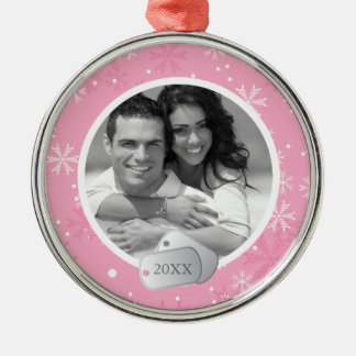 Pink Snowflakes and Dog Tags Photo Silver-Colored Round Decoration