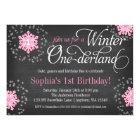 Pink Snowflakes Chalkboard Winter Onederland Card