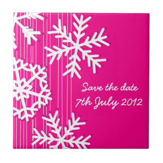 Pink Snowflakes Christmas Save the date Tile