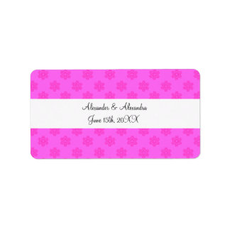 Pink snowflakes wedding favors address label