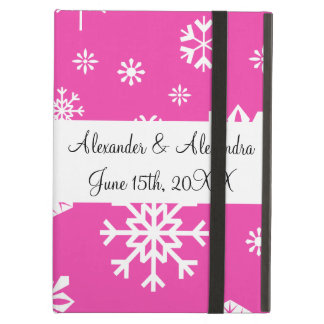 Pink snowflakes wedding favors iPad air cases