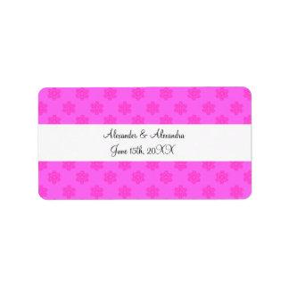 Pink snowflakes wedding favors address label
