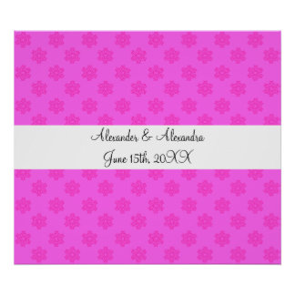 Pink snowflakes wedding favors poster