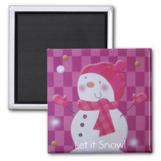 Pink Snowman Square Magnet