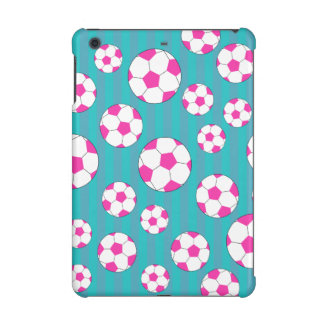 Pink soccer ball turquoise stripes