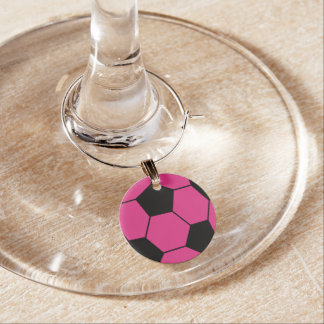 Pink Soccer Ball Wine Charm