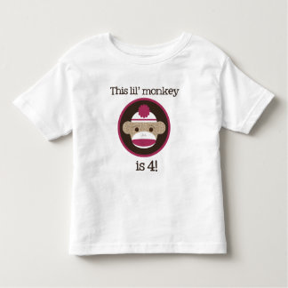 Pink Sock Monkey: Fourth Birthday Tee