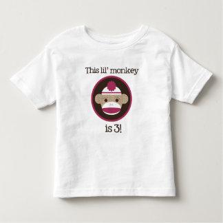 Pink Sock Monkey: Third Birthday Tshirt