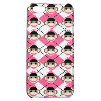 Pink Sock Monkeys on Pink White Argyle Diamond iPhone 5C Covers