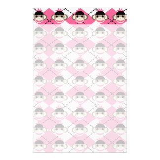 Pink Sock Monkeys on Pink White Argyle Diamond Personalised Stationery