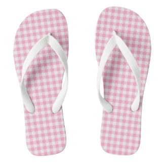 Pink Soda Gingham Flip Flops Adult, Wide Straps