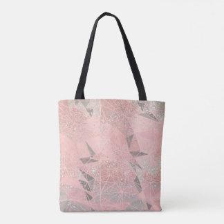 pink space geometry tote bag