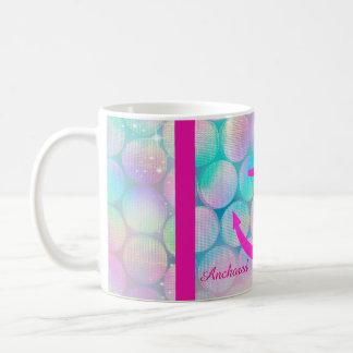 Pink Sparkle Anchored Faith Coffee Mug