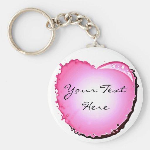 Pink Sparkle Bubble Heart Key Chains