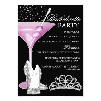Pink Sparkle Cocktail Bachelorette Party Card