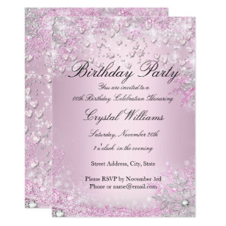 Pink Sparkle Hearts Birthday Invitation