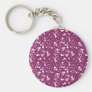 Pink Sparkle Basic Round Button Key Ring