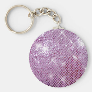 Pink Sparkle-Look Basic Round Button Key Ring