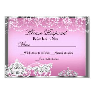 Pink Sparkle Princess Theme RSVP Reply Card