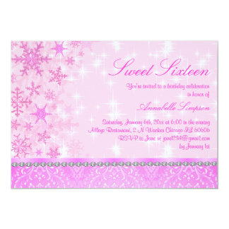 Pink Sparkle Snowflake Sweet16 Invite