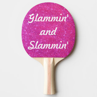 Pink Sparkle Sparkly Glitter Glam Glittery Sports Ping Pong Paddle