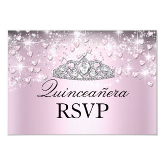 Pink Sparkle Tiara & Hearts Quinceanera RSVP 9 Cm X 13 Cm Invitation Card