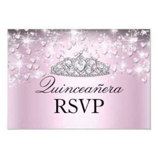 Pink Sparkle Tiara & Hearts Quinceanera RSVP Announcement