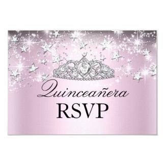 Pink Sparkle Tiara & Stars Quinceanera RSVP Custom Announcement Cards