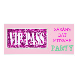 Pink sparkle VIP Bat Mitzvah party 10 Cm X 24 Cm Invitation Card