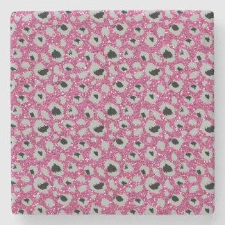 Pink Sparkles Leopard Print Stone Coaster