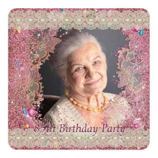 Pink Sparkles Womans Photo 85th Birthday Party Card