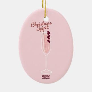 Pink Sparkling Christmas Ceramic Ornament
