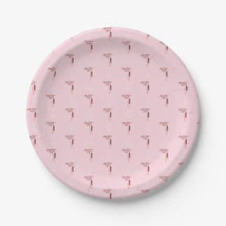 Pink Sparkling Christmas Paper Plate