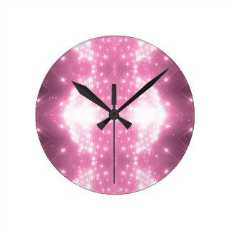 Pink Sparkling Kaleidasope Round Clock
