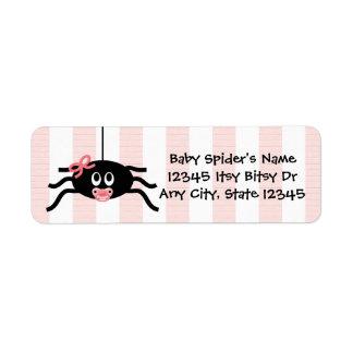 Pink Spider Baby Shower Return Address Label