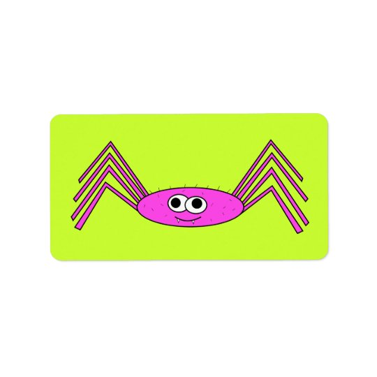 Pink Spider on Label Address Label