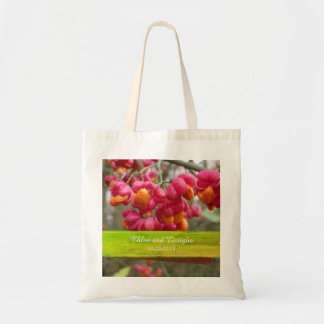 Pink Spindle Flowers Personalized Wedding Tote Bag