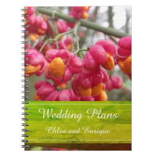 Pink Spindle Flowers Wedding Note Book