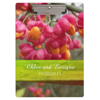 Pink Spindle Fruit/ Flowers Personalized Wedding Clipboard