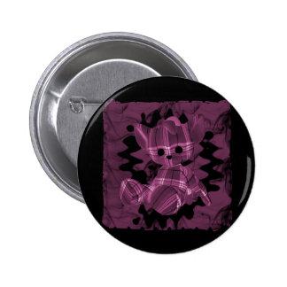 Pink Spiral Smoke Teddy Bear Buttons