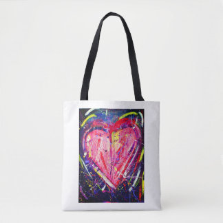 Pink Splatter Heart Tote Bag