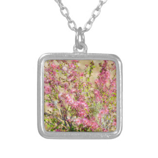Pink Spray Silver Plated Necklace