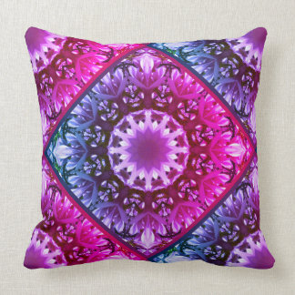 Pink spring blossoms 1.1.3.F, mandala style Throw Pillow