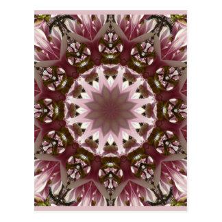 Pink spring blossoms 1.3, floral mandala style postcard