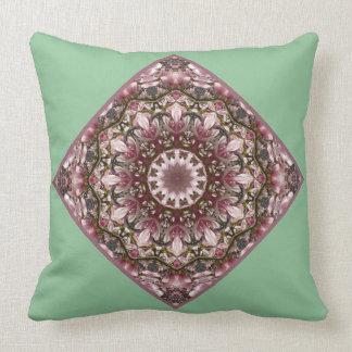 Pink spring blossoms 2.5.5.5, Nature Mandala Throw Pillow