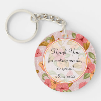Pink Spring Floral Wedding Thank You Double-Sided Round Acrylic Key Ring